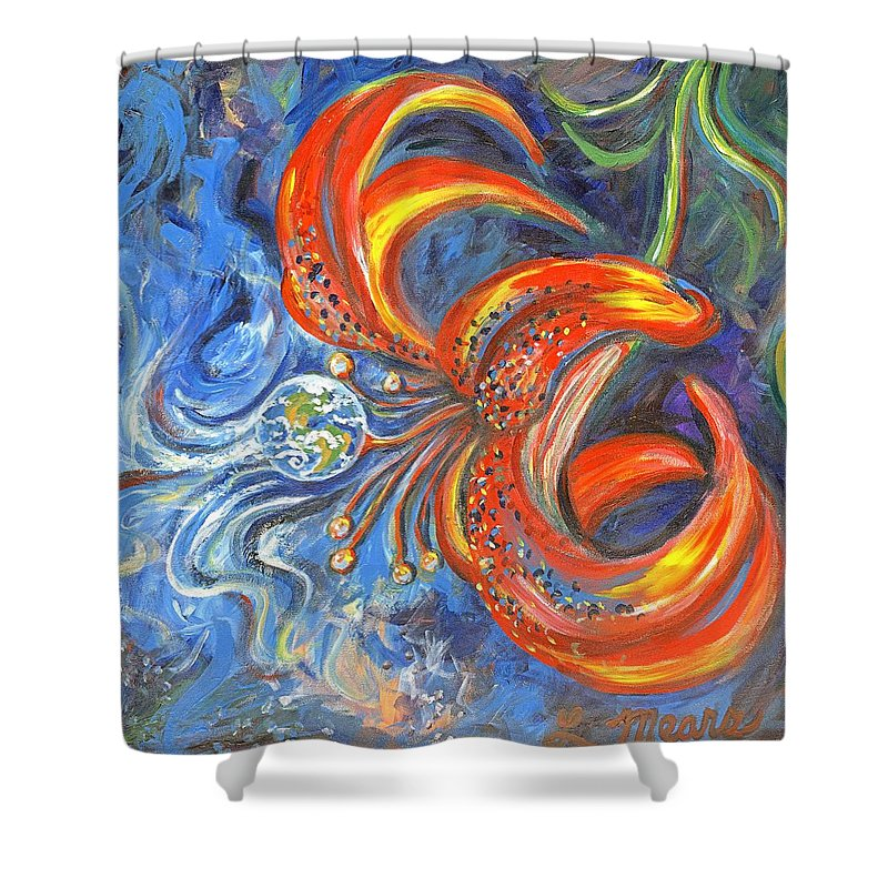 Flower Shower Curtain featuring the painting Global Lily by Linda Mears