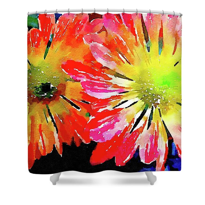 Flowers Shower Curtain featuring the painting Gloriosa by Jamie Holbrook