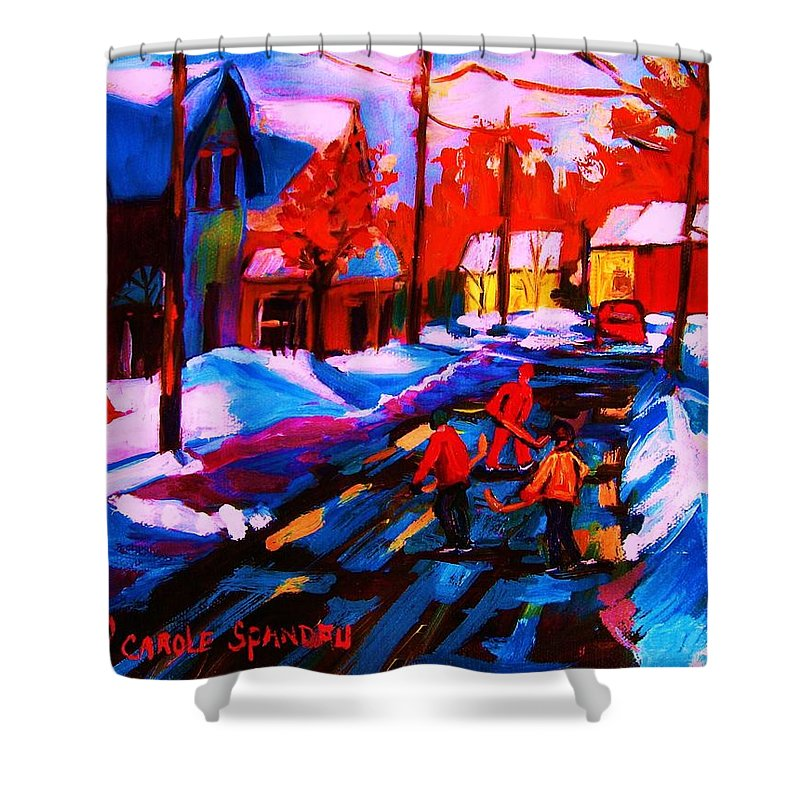 Streethockey Shower Curtain featuring the painting Glorious Day For A Game by Carole Spandau