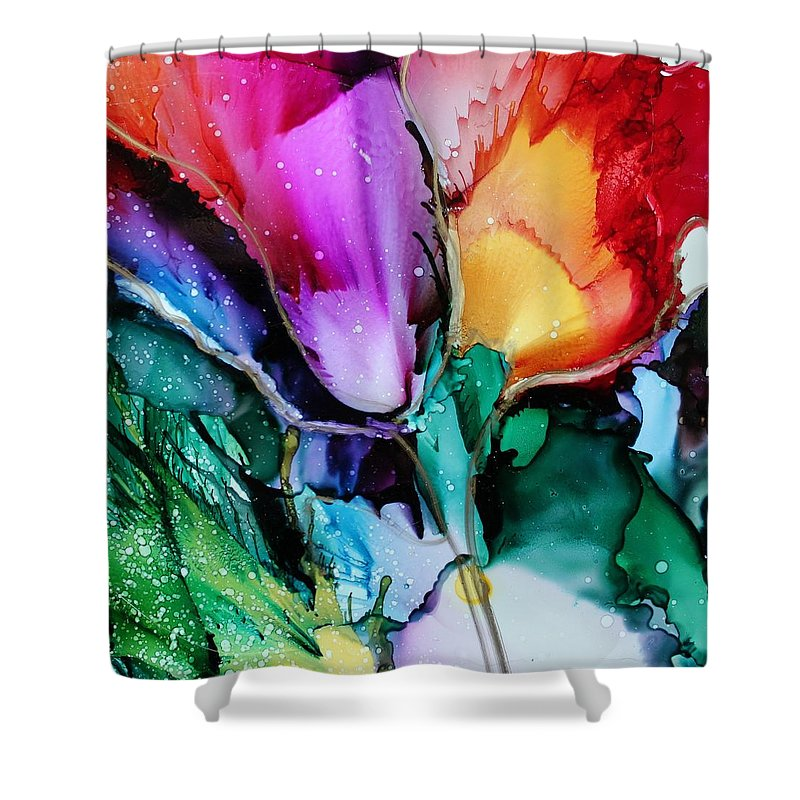 Tulips Shower Curtain featuring the painting Glow by Ruth Kamenev