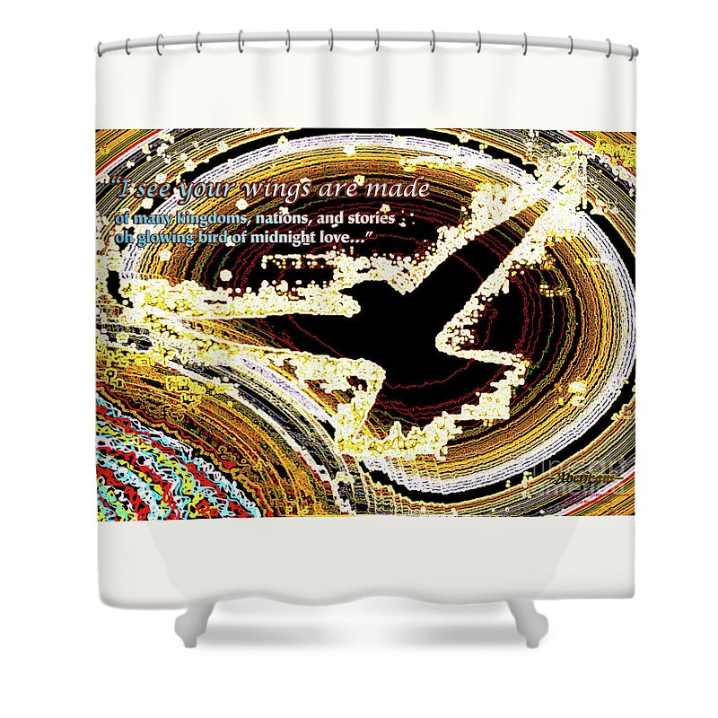 Multiculturalism Shower Curtain featuring the digital art Glowing Bird Of Midnight Love by Aberjhani's Official Postered Chromatic Poetics