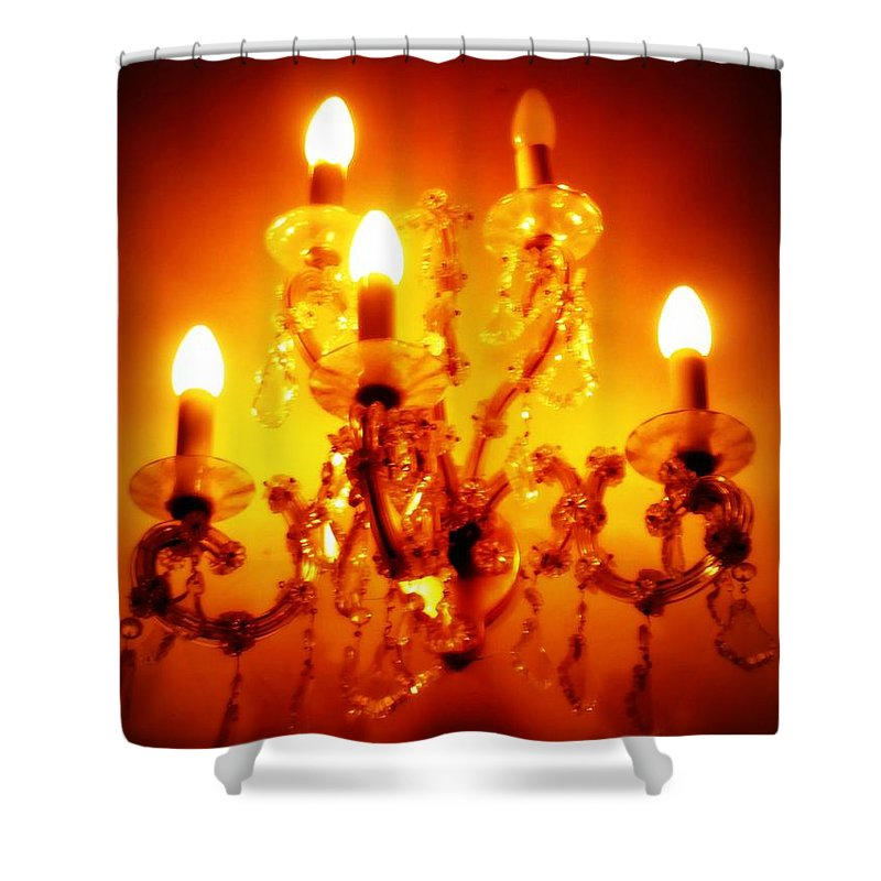 Dining Room Decor Shower Curtain featuring the photograph Glowing Chandelier--Companion Piece by Carol Groenen