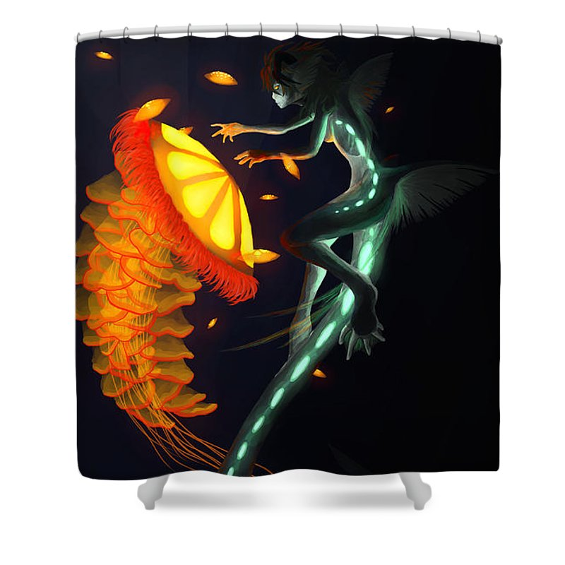 Water Shower Curtain featuring the painting Glowing Depths by Nicki Lagaly