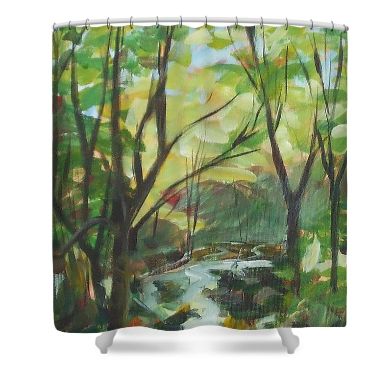 Painting Shower Curtain featuring the painting Glowing From The Flood by Claire Gagnon