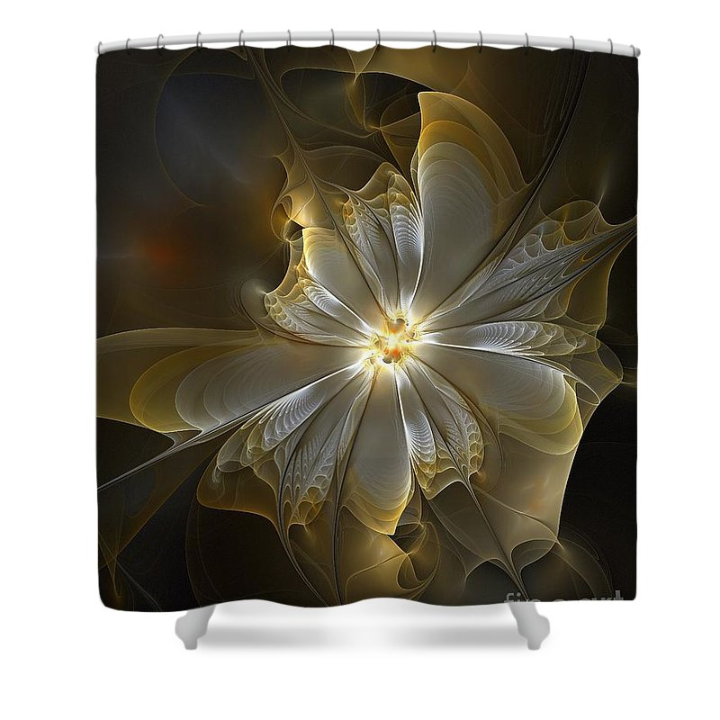 Digital Art Shower Curtain featuring the digital art Glowing in Silver and Gold by Amanda Moore