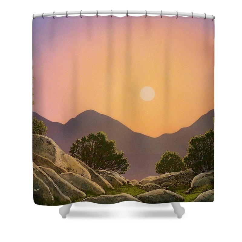 Mountains Shower Curtain featuring the painting Glowing Landscape by Frank Wilson
