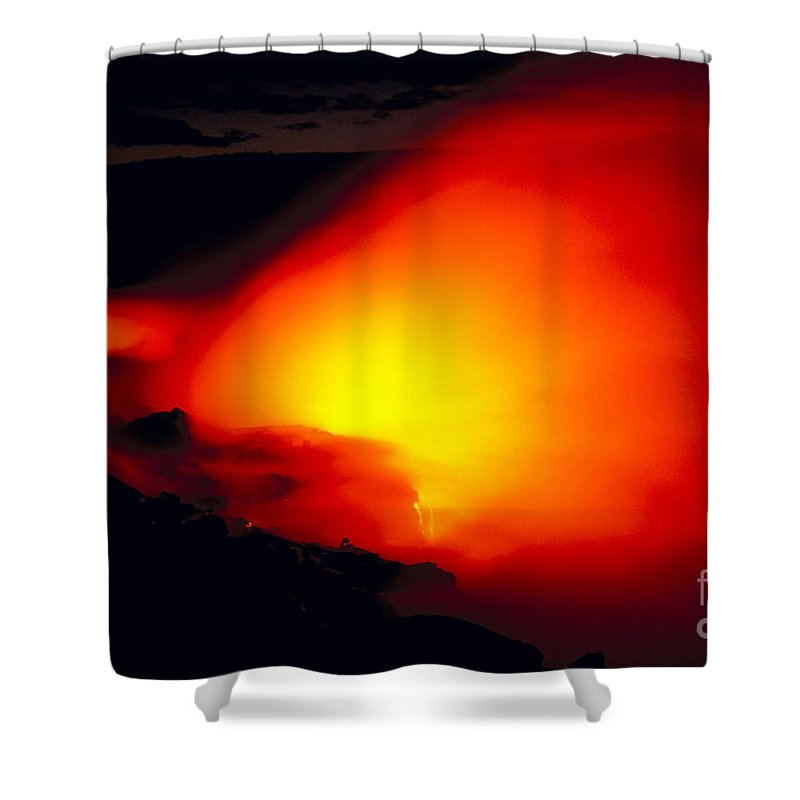 Active Shower Curtain featuring the photograph Glowing Lava Flow by William Waterfall - Printscapes