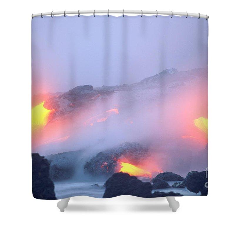 Amaze Shower Curtain featuring the photograph Glowing Orange Lava by Mary Van de Ven - Printscapes