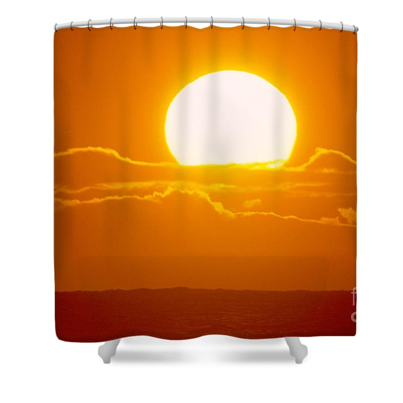 Amaze Shower Curtain featuring the photograph Glowing Sunball by Mary Van de Ven - Printscapes