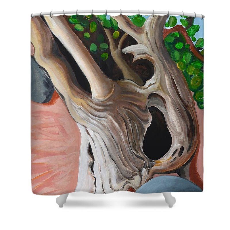 Tree Shower Curtain featuring the painting Gnarled And Greying by William Cares
