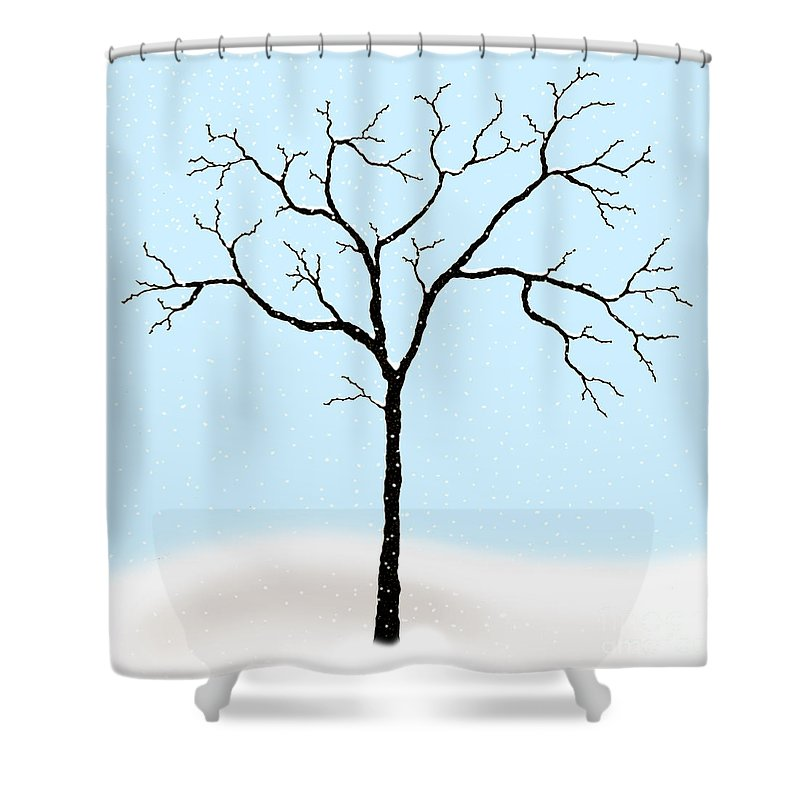 Gnarled Shower Curtain featuring the digital art Gnarled In Winter by Alycia Christine