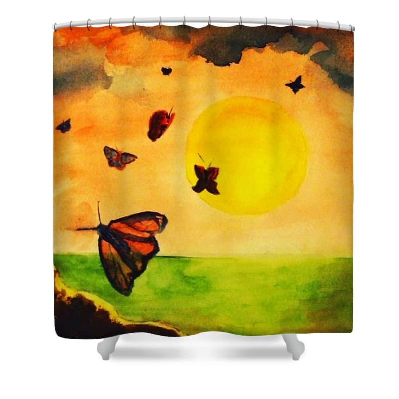 Gnome Shower Curtain featuring the painting Gnome And Seven Butterflies by Andrew Gillette