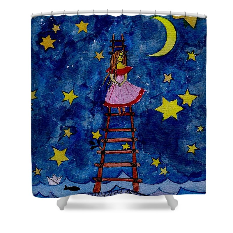 Sky Shower Curtain featuring the painting Go Down by Sweeping Girl