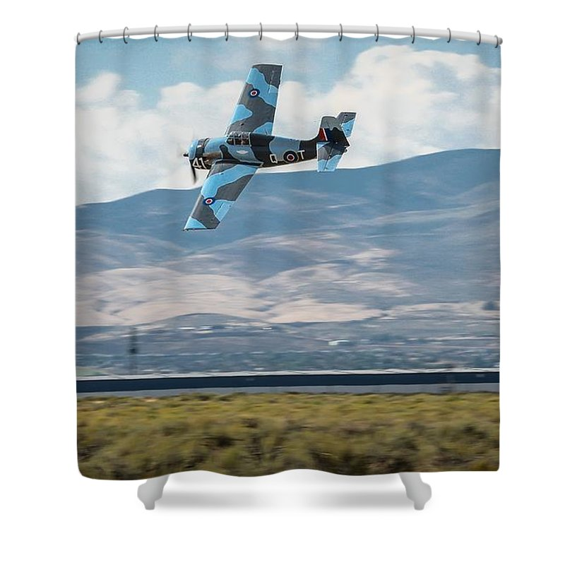 Reno Air Races Shower Curtain featuring the photograph Go Fast Turn Left Fly Low Friday Morning Unlimited Broze Class Signature Edition by John King