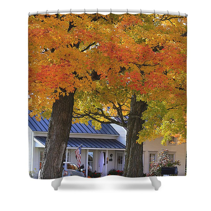 Fall Shower Curtain featuring the photograph Go Right Please by Deborah Benoit