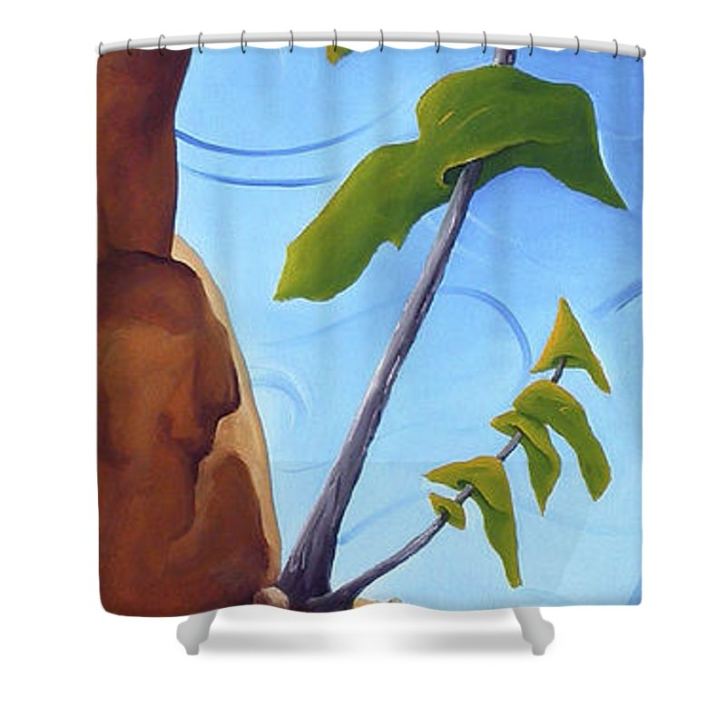 Landscape Shower Curtain featuring the painting Goals by Richard Hoedl