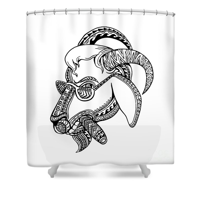 Goat Cigar Tribal Tattoo Style Shower Curtain for Sale by Aloysius ...