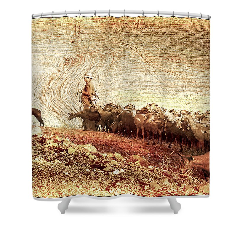 Goats Shower Curtain featuring the photograph Goatherd by Mal Bray