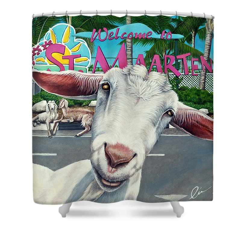 Goat Shower Curtain featuring the painting Goats Of St. Maarten- Sofie by Cindy D Chinn