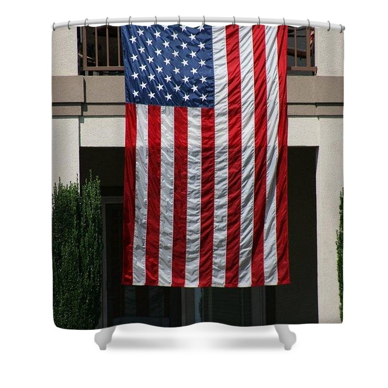 Flag Shower Curtain featuring the photograph God Bless by Jean Macaluso