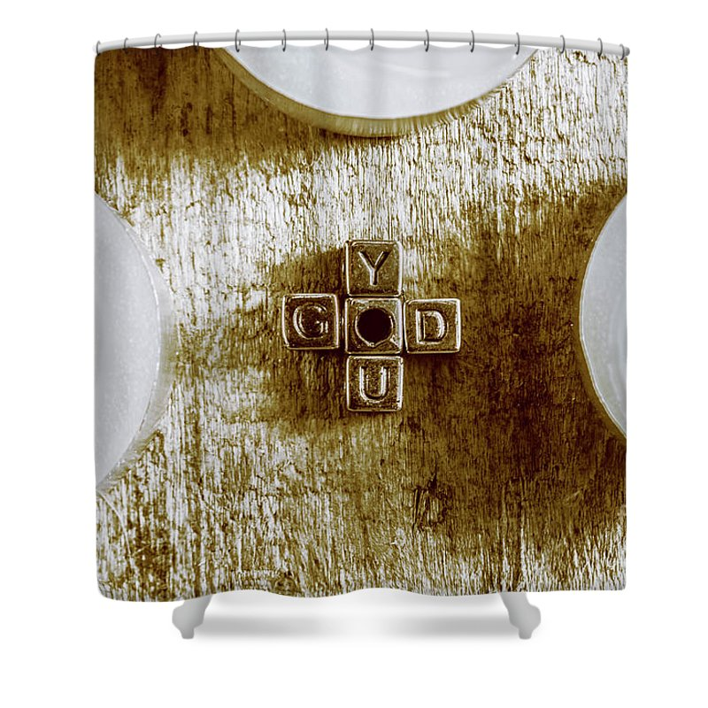 God Shower Curtain Featuring The Photograph Is You Metal Lettering Typography Near White Candles