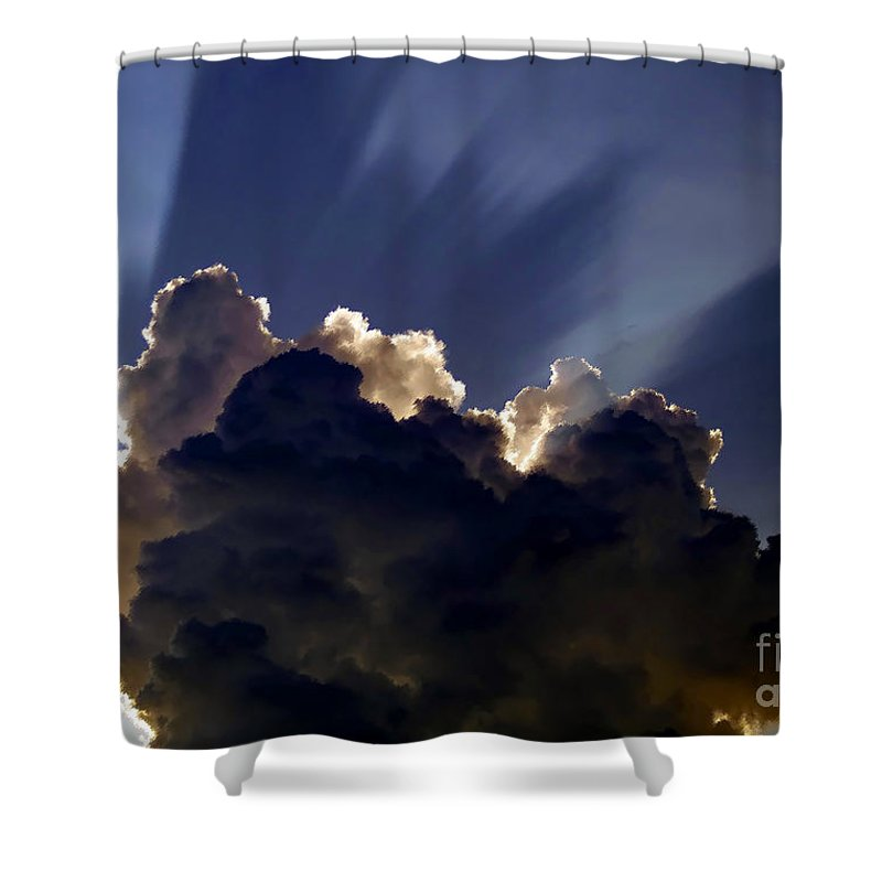 God Shower Curtain featuring the painting God Speaking by David Lee Thompson
