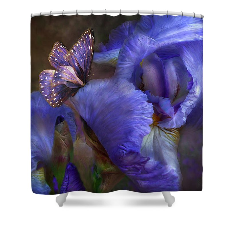 Iris Shower Curtain featuring the mixed media Goddess Of Mystery by Carol Cavalaris