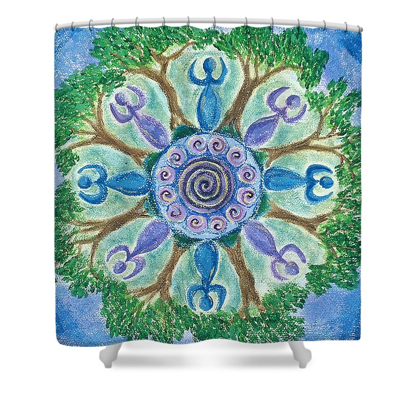 Goddess Shower Curtain featuring the painting Goddesses Dancing by Charlotte Backman