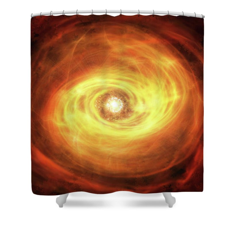 Shower Curtain featuring the mixed media Godseye Galaxy by Steven Marcus