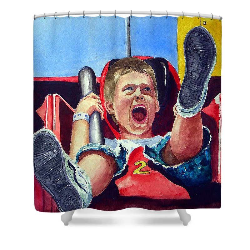 Boy Shower Curtain featuring the painting Goin' Down by Sam Sidders