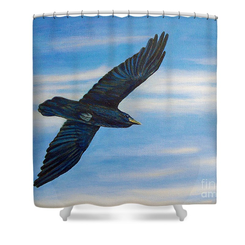 Bird Shower Curtain featuring the painting Going Home by Brian Commerford