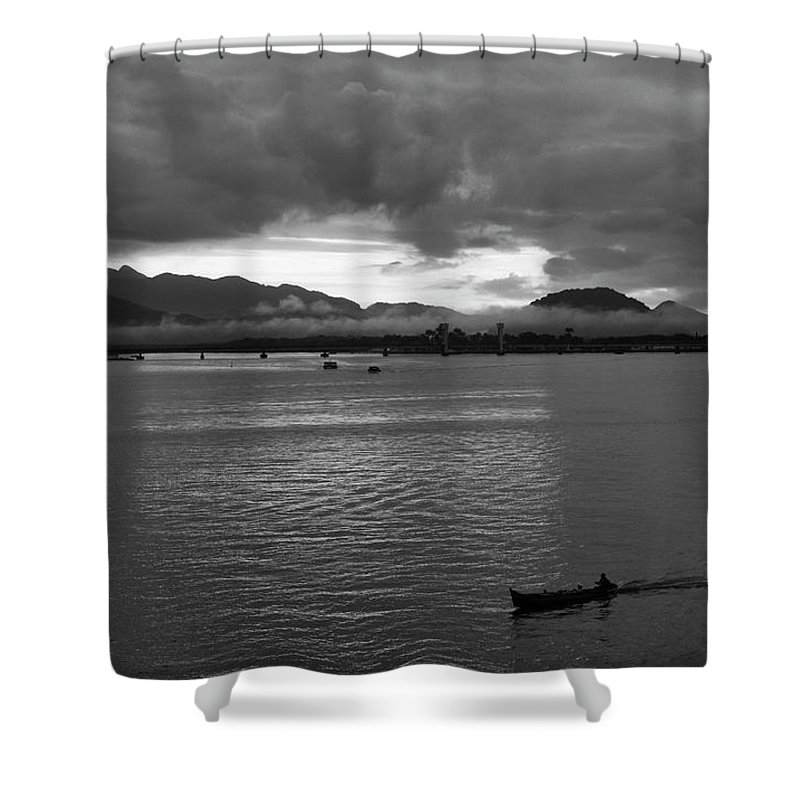 Boat Shower Curtain featuring the photograph Going Home by James Conway