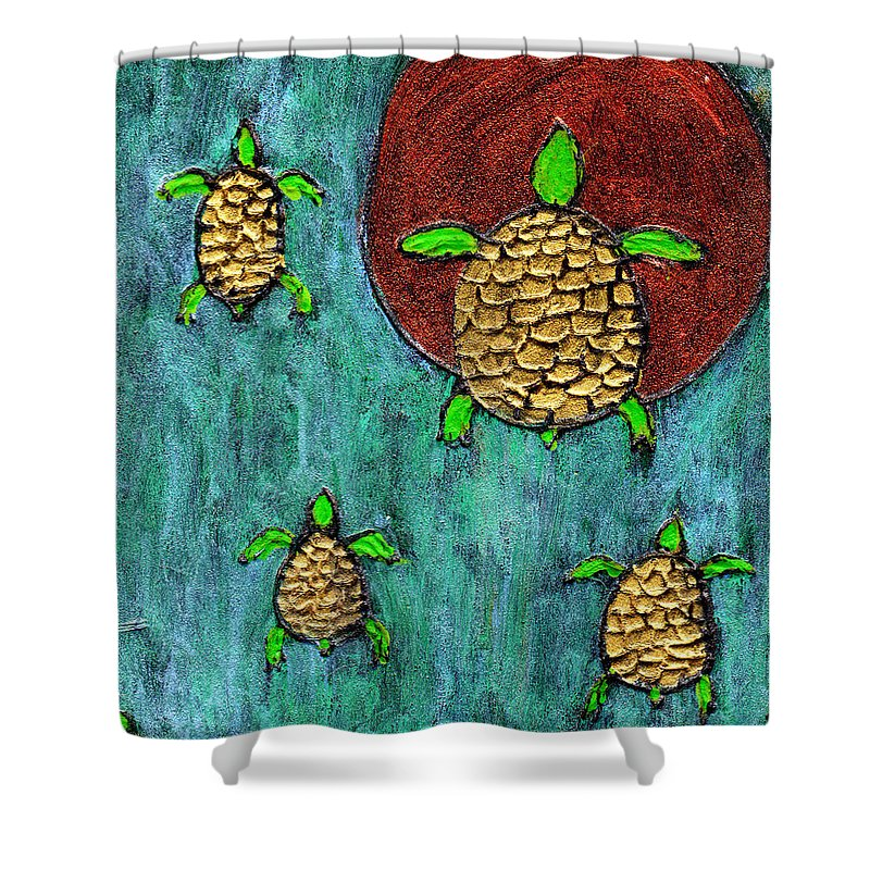 Sea Turtle Shower Curtain featuring the painting Going Home by Wayne Potrafka
