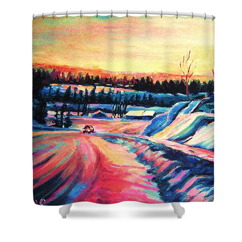 Winterscene Shower Curtain featuring the painting Going Places by Carole Spandau