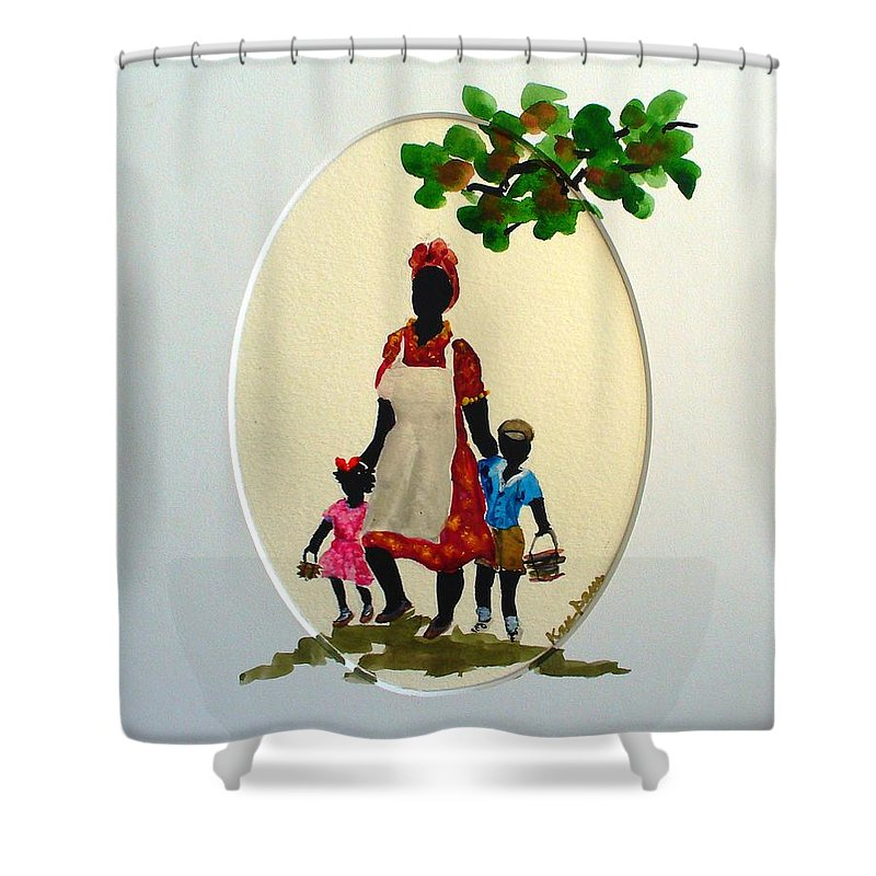Caribbean Children Shower Curtain featuring the painting Going To School by Karin Dawn Kelshall- Best