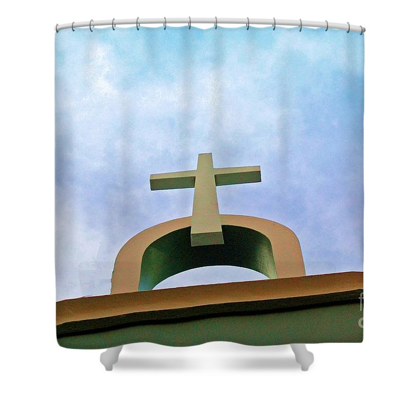 Cross Shower Curtain featuring the photograph Going Up by Debbi Granruth