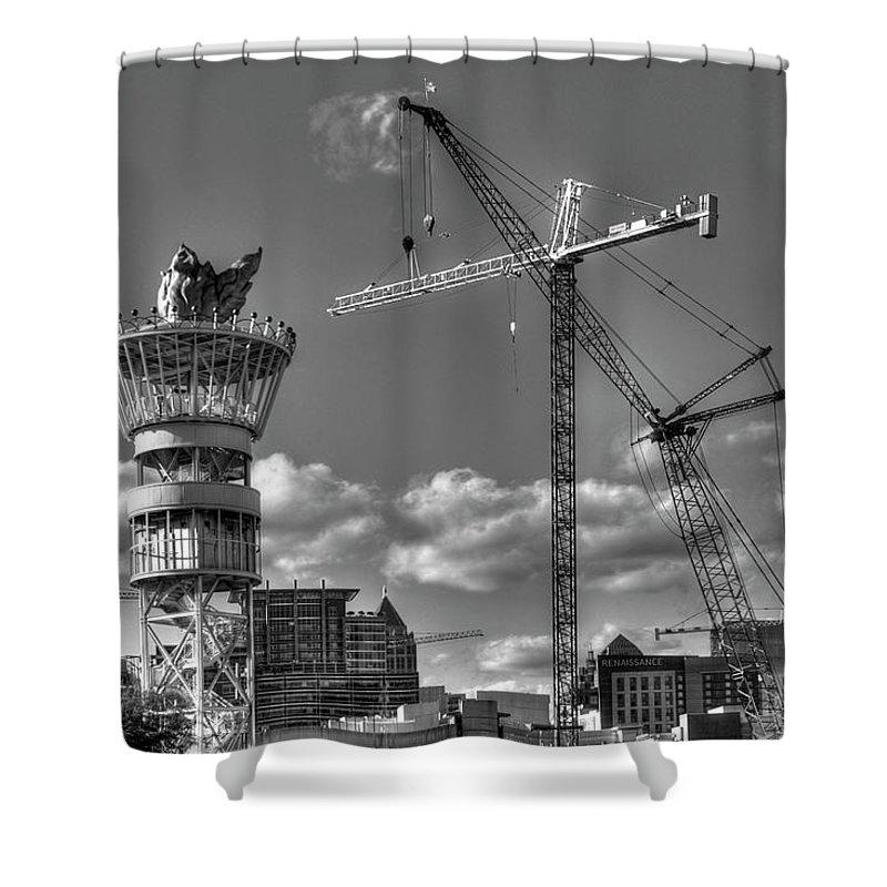 Reid Callaway Early Start Shower Curtain featuring the photograph Going Up Midtown Atlanta Construction Art by Reid Callaway