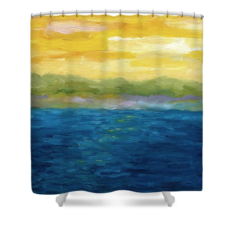 Lake Shower Curtain featuring the painting Gold And Pink Sunset by Michelle Calkins