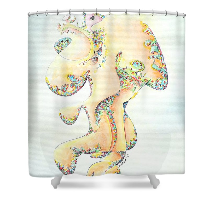 Figure Shower Curtain featuring the painting Gold Bejeweled Fertility Goddess by Dave Martsolf