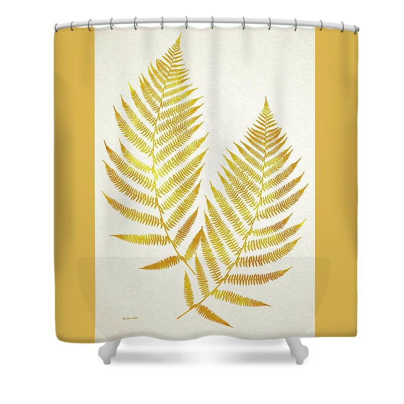 Fern Shower Curtain Featuring The Mixed Media Gold Leaf Art By Christina Rollo