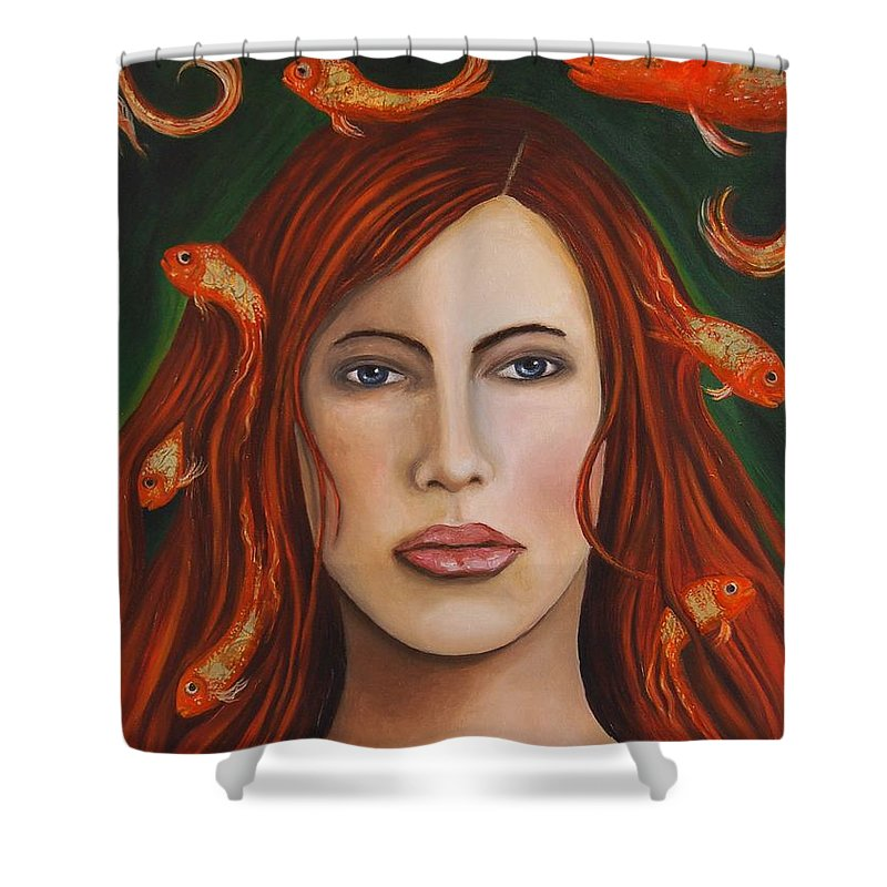 Gold Fish Shower Curtain featuring the painting Gold Fish 9 by Leah Saulnier The Painting Maniac