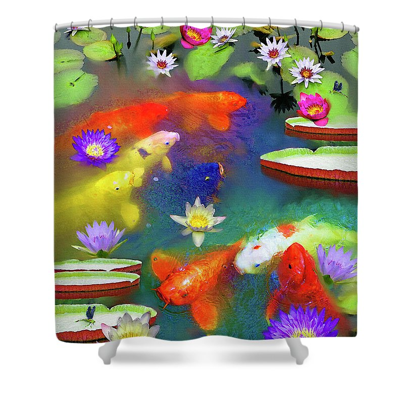 Gold Fish Shower Curtain featuring the painting Gold Fish And Water Lily Pads by Susanna Katherine