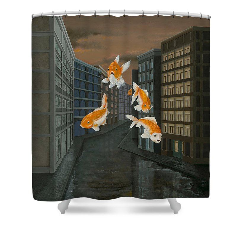 Fish Shower Curtain featuring the painting Gold Fish by Patricia Van Lubeck