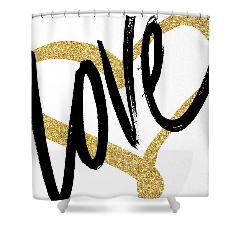 Gold Shower Curtain featuring the painting Gold Heart Black Script Love by South Social Studio
