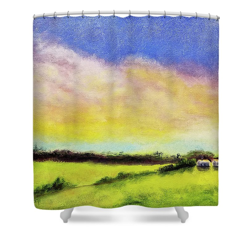 Cloud Shower Curtain featuring the painting Gold In The Bank by Susan Hanna