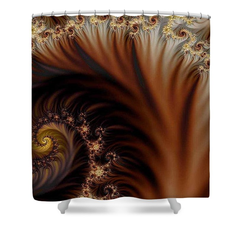 Clay Shower Curtain featuring the digital art Gold In Them Hills by Clayton Bruster