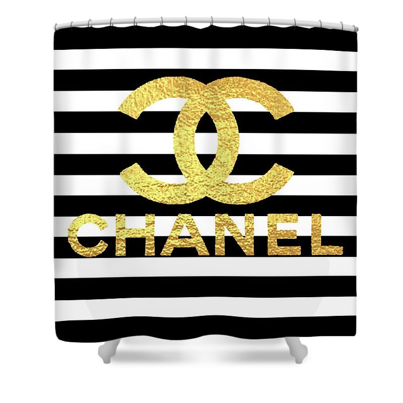 Gold Shower Curtain Featuring The Mixed Media Logo Chanel By Del Art