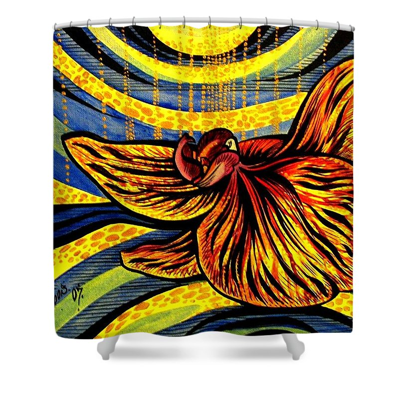 Inga Vereshchagina Shower Curtain featuring the painting Gold Orchid by Inga Vereshchagina