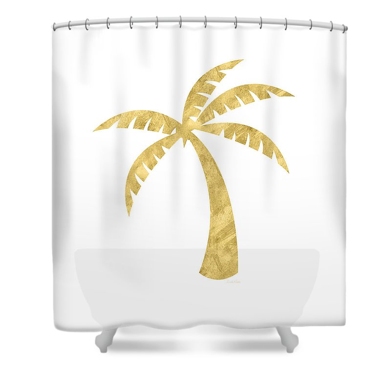 Palm Tree Shower Curtain featuring the mixed media Gold Palm Tree- Art by Linda Woods by Linda Woods