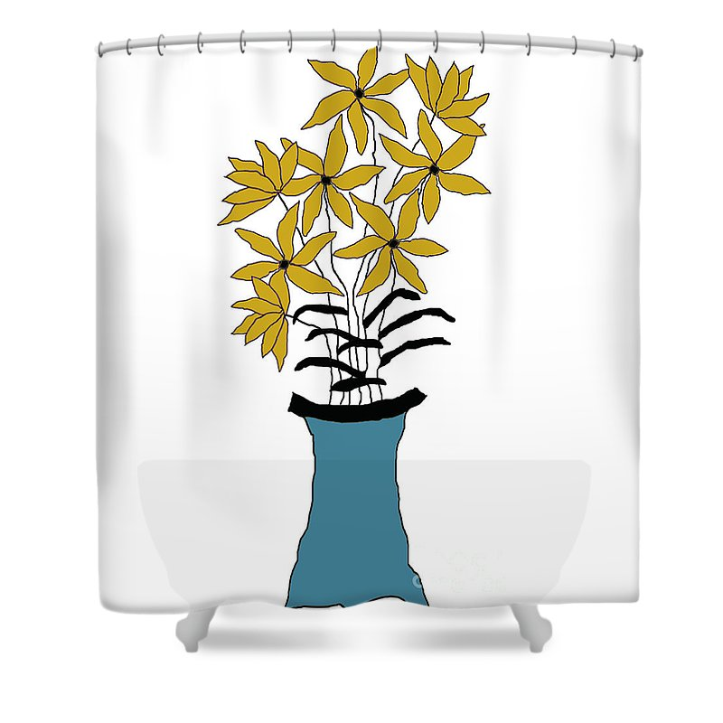 Digital Shower Curtain featuring the digital art Gold Pointed Flowers by Ann Johnson